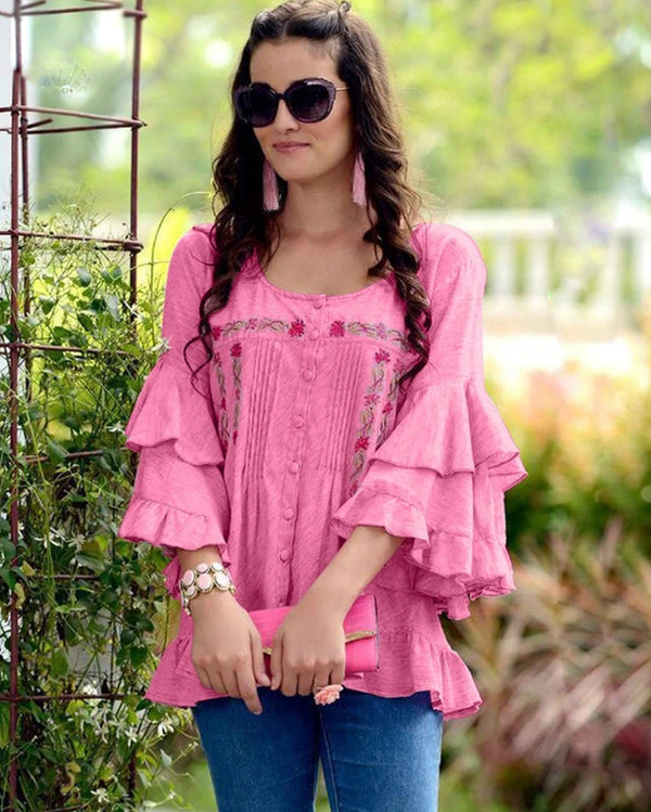 Pink  Jam Cotton Work Western Tops