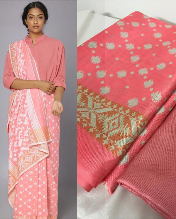 Pink Jamdani Cotton Saree