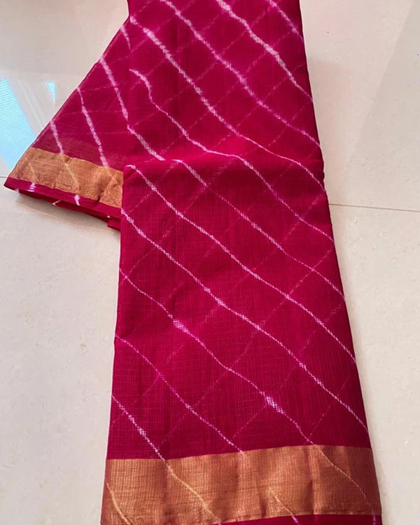 Pink leheria cotton saree