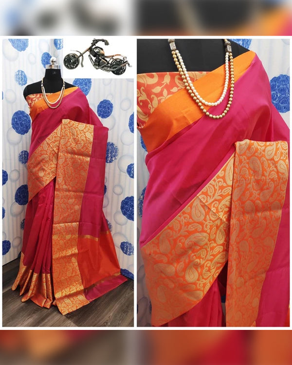Pink orange silk sarree