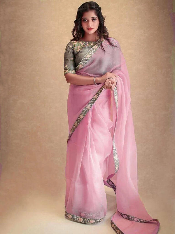 Pink Organza Embroidry Border Saree