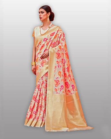 Pink silk weaving Saree