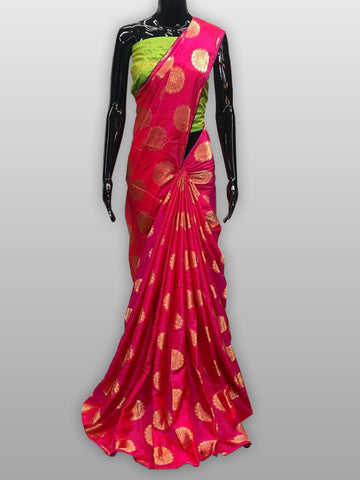 Pink silk saree with contrast blouse