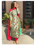 printed silk suit with dupata