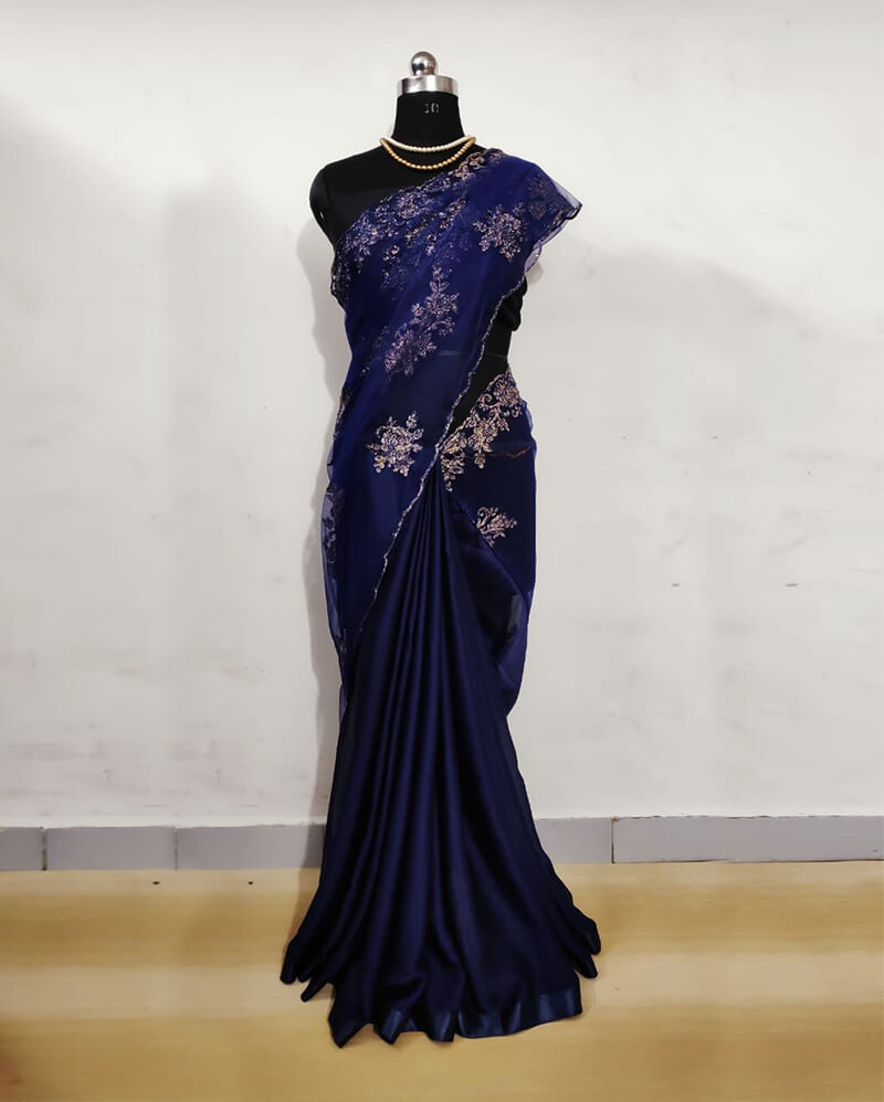 Pure Satin Blue Net Saree