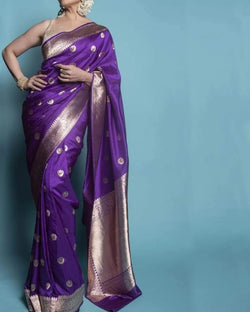 Purple Banarsi silk saree