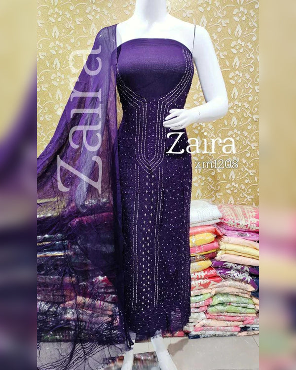 Purple chiffon mukesh work dress material