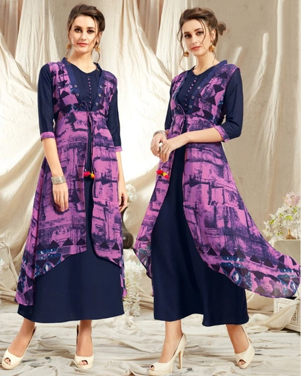 Purple Rayon Kurti with Jacket