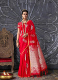 red banarsi saree