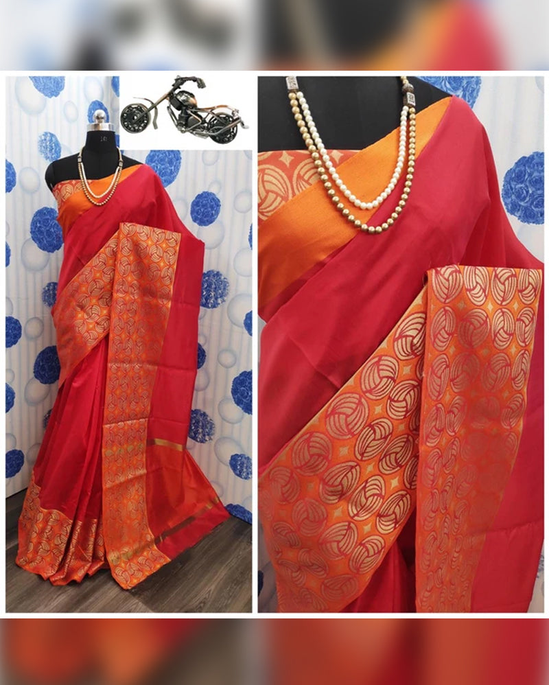 Red crystal silk saree