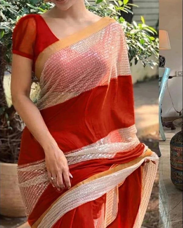 Red Designer Sequence  Saree