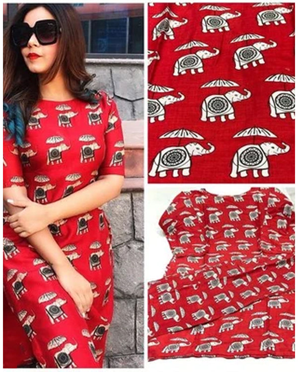 Red elephant cotton kurta pant suit