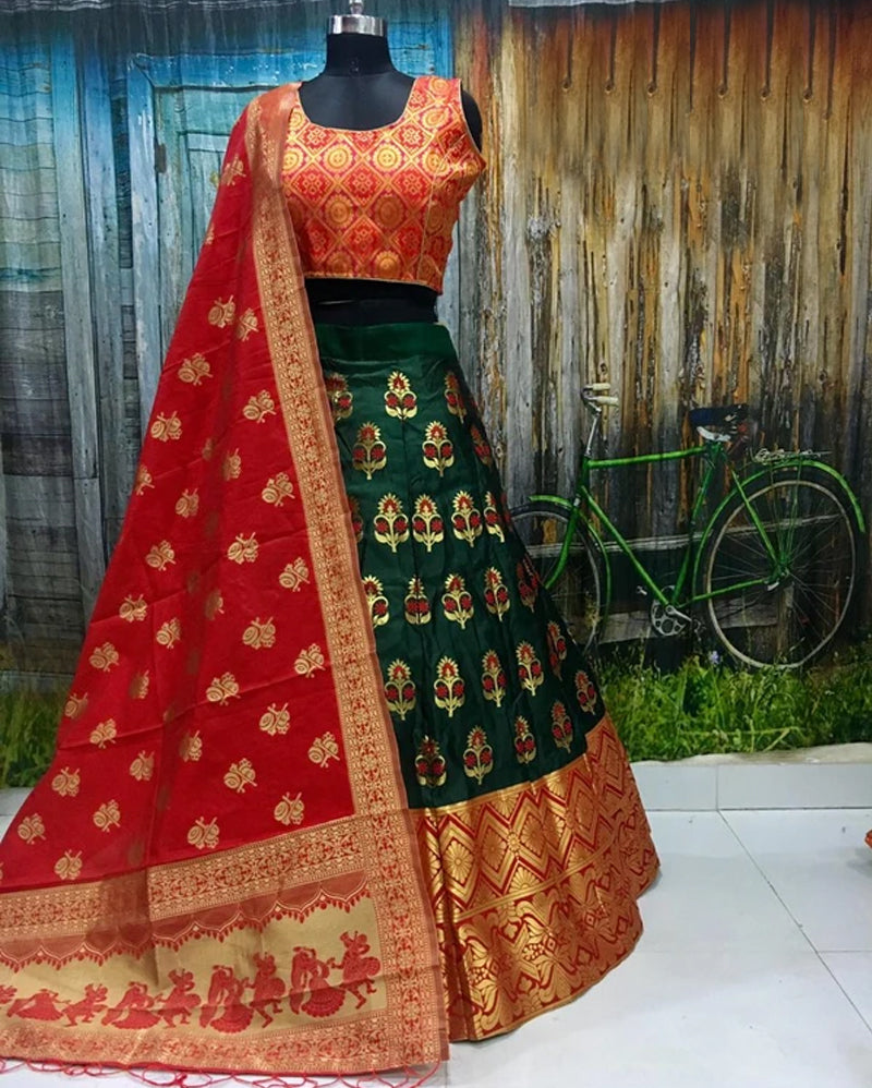 Red green brocade lehenga choli and dupatta