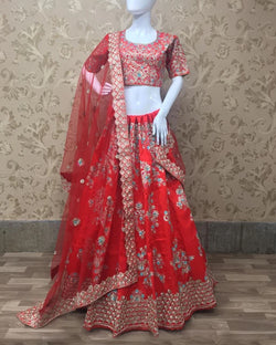 Red hot heavy marriage lehenga