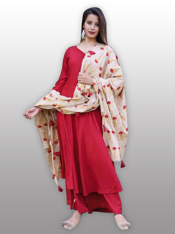 Red kurti plazo set with printed dupatta