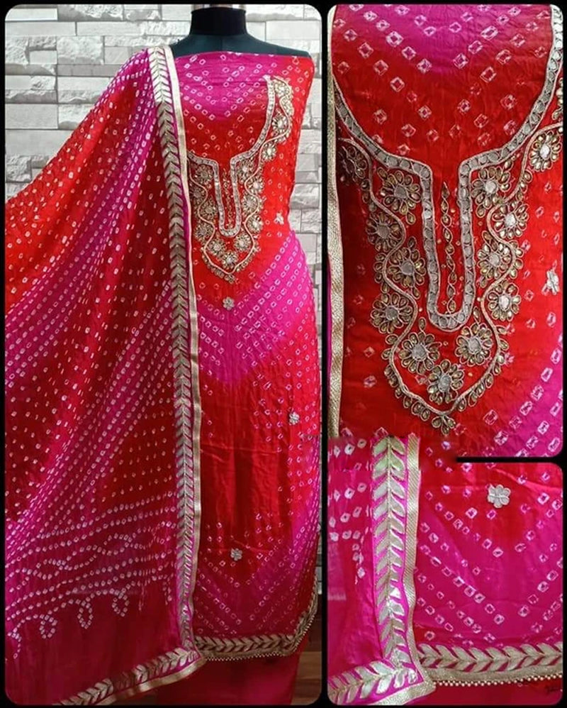 Red pink silk dress material