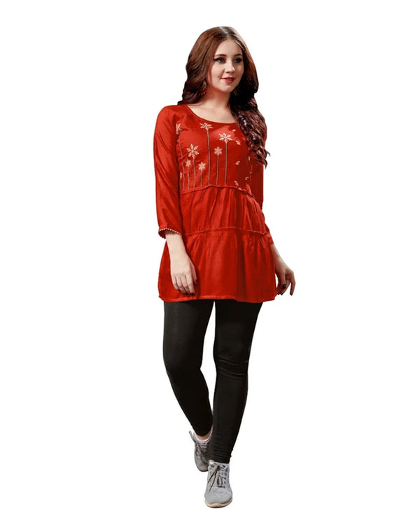 Red Rayon Readymade Tops