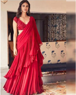 Red Ruffle Designer Saree
