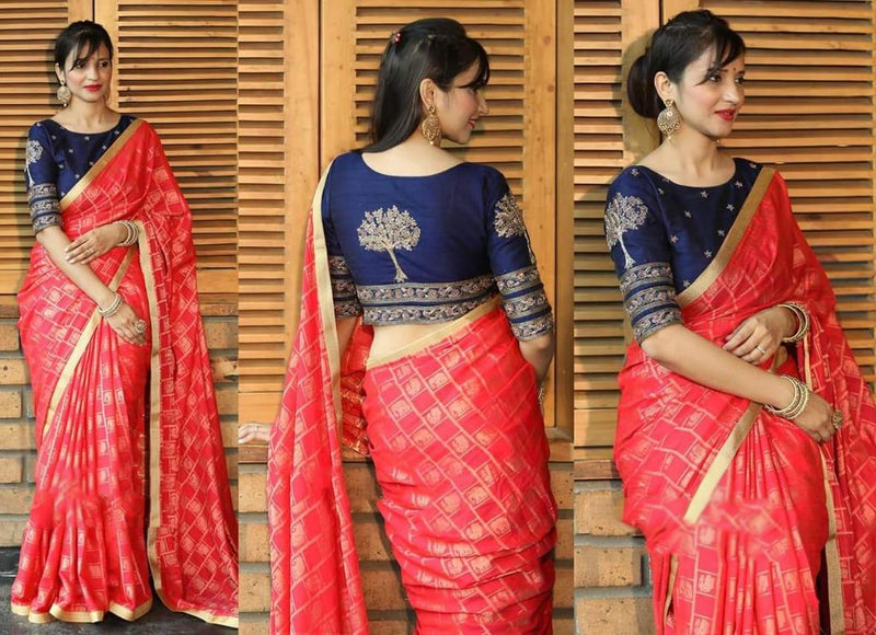 Red saree Contract blouse