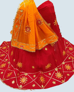 Red Traditional Gotta Patti Lehenga Chunni