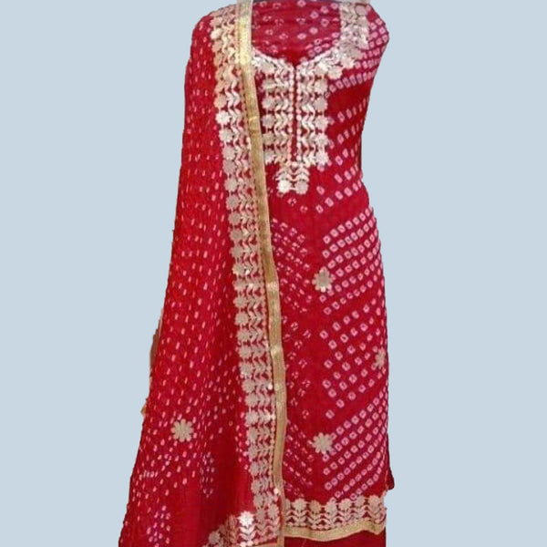 Red Bandhej gotta patti dress material