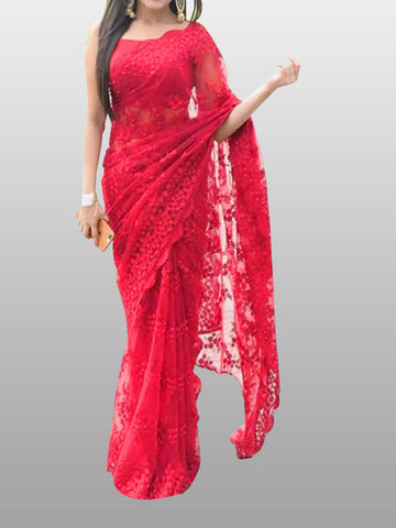 red net saree