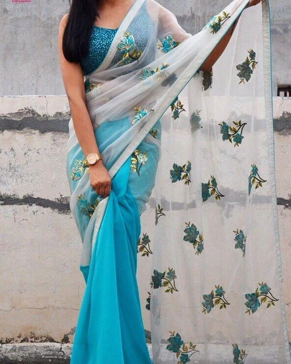 Organza georgette saree