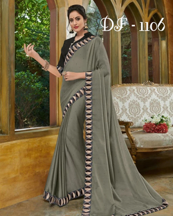 Grey black border saree