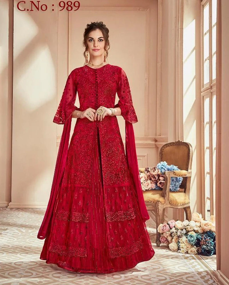 Semistich Red Net Dress Material