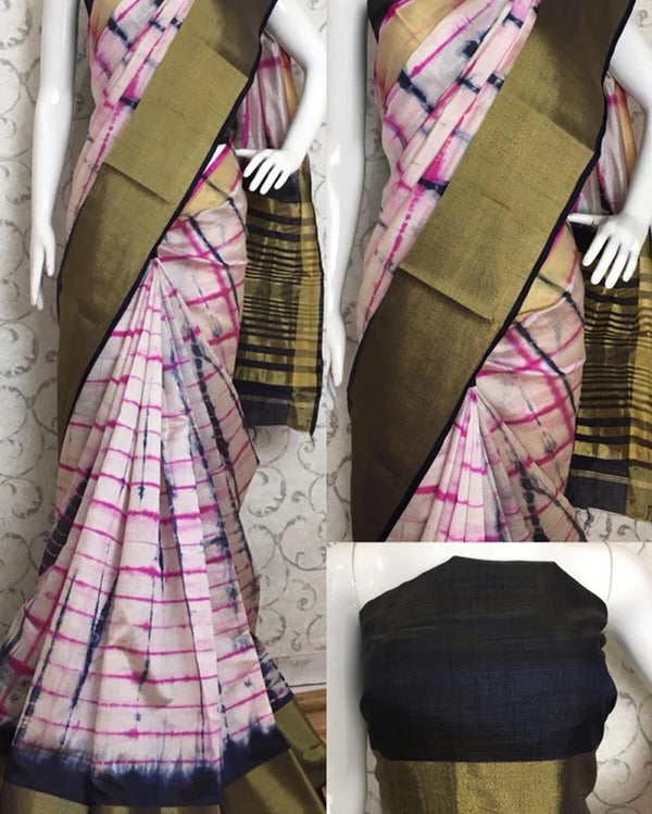Shibori zari border silk saree