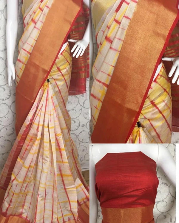 Silk red border shibori saree