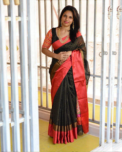 Silk Saree With Embroidery Sleeves