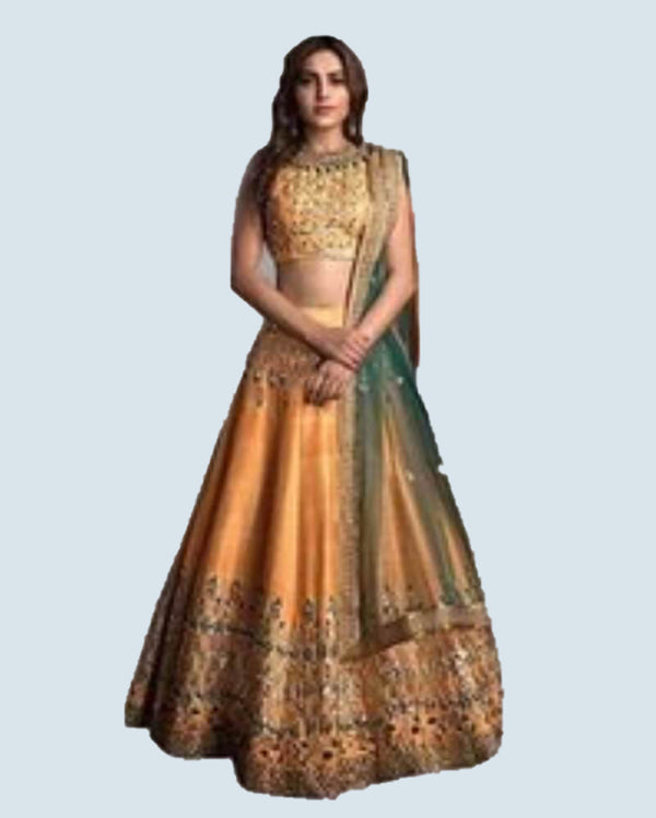 Simple silk lehenga with contrast dupatta