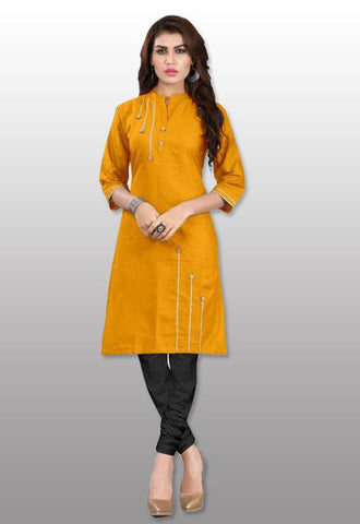 yellow straight indian kurti