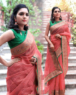 Summer Cotton Red Saree
