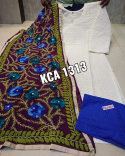 White And Blue Kurta Palazzo And Dupatta
