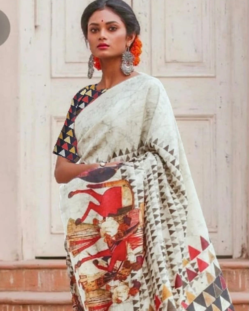 White Printed Silk Saree