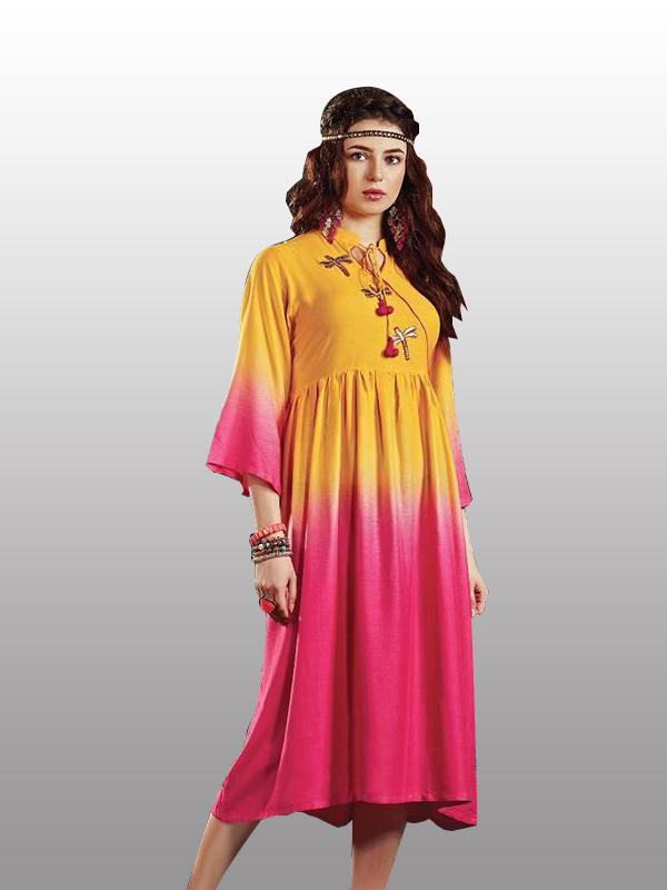 Yellow And Pink Designer Kurti