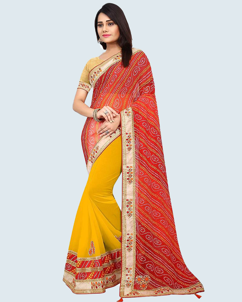 Yellow Bandhej Gotta Patti Saree