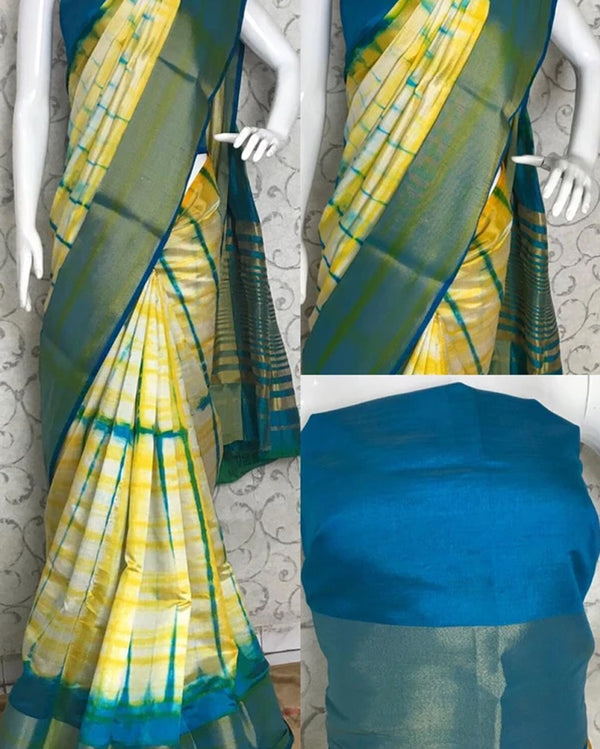 Yellow blue tussar silk saree