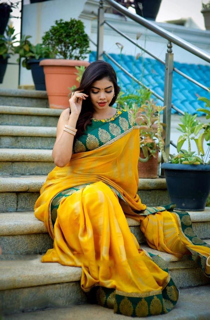 Yellow border saree