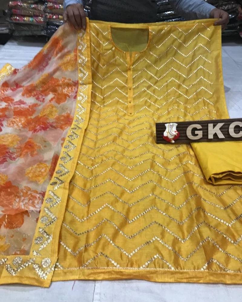 Yellow chanderi dress material