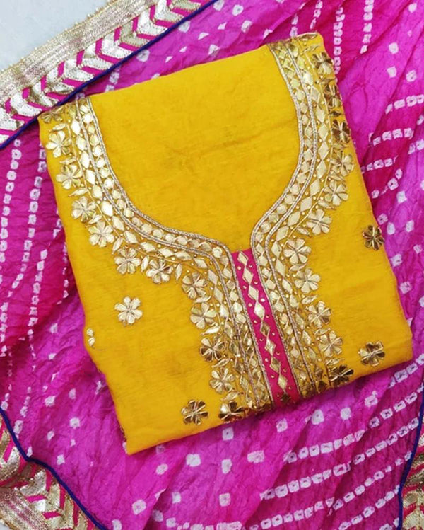 Yellow Chanderi Gotta Patti Dress Material With Bandhani Dupatta