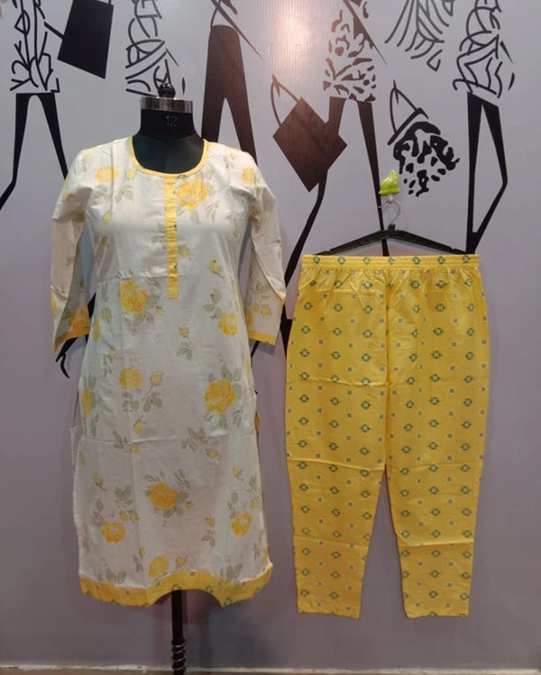 Yellow cotton collection kurti pant set