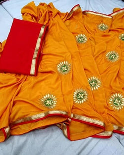 Yellow gotta patti round boota saree