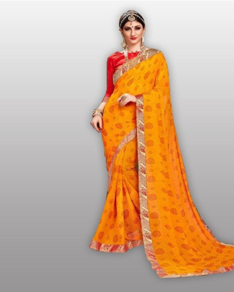 Yellow Jaipuri bandhej saree