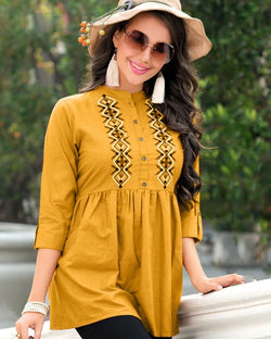 Yellow Jam Cotton Work Western Tops