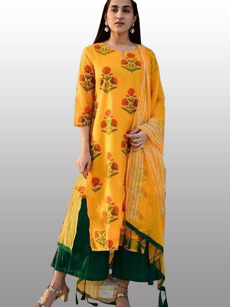 yellow kurti plazo set