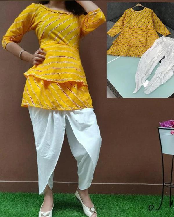 Yellow kurti and tulip pant