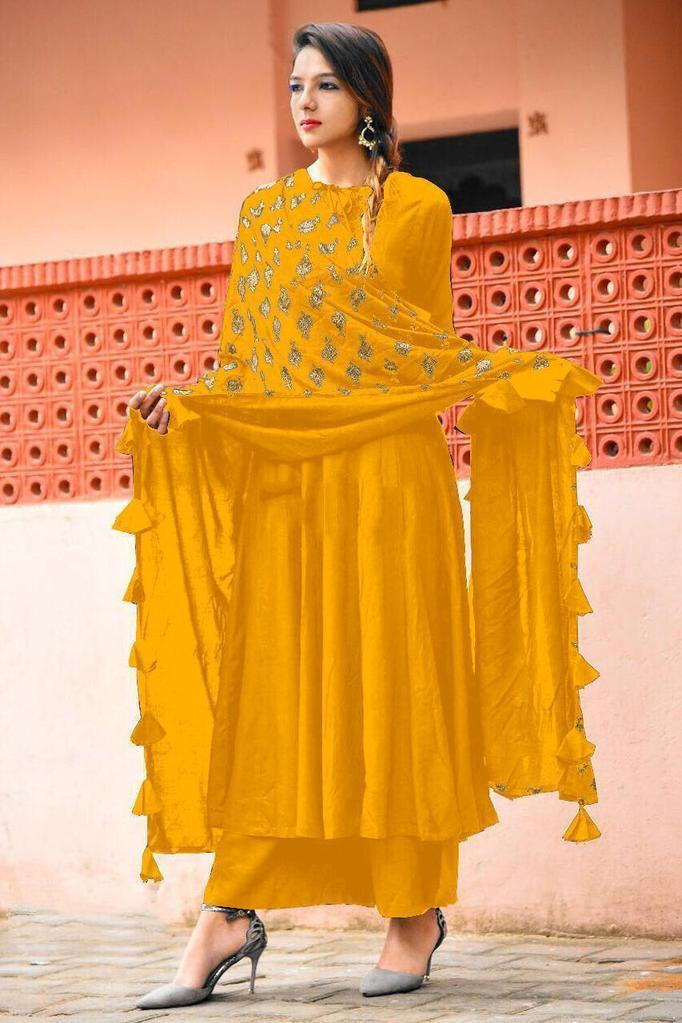 Yellow kurti plazo with gold print dupatta